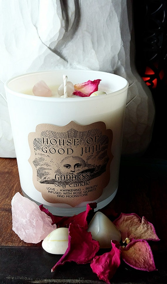 GODDESS Soy Candle  Love~Awakening~Beauty infused with Rose Quartz and Moonstone