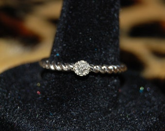 Vintage Victorian Edwardian Diamond 925 Sterling Twisted I Love You Anniversary Wedding Engagement Ring #BKC-RNG163