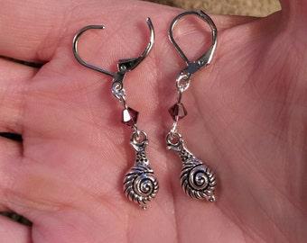Snail Crystal Earrings, Amethyst Swarovski crystal WHITE GOLD plated Leverback earrings, Land Snail, Snail jewelry