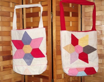 Upcycled Farmers Market Bag old patchwork 6 Point Star quilt