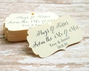 Hugs and Kisses from the Mr and Mrs Ornate Wedding Tag, Wedding Tag, Bridal Shower Tag, wedding, engagement party, thank you tag (033)