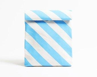 Kamibukuro/Stripe-Sky/paper bag shape multipurpose pouch, travel goods organizer