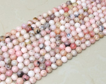 Pink Peruvian Opal Smooth Polished Bead - Pink Opal Bead - Peruvian Pink Opal - Half Strand - 8mm