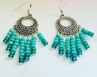 Beachy boho handmade earrings in silver with turquoise