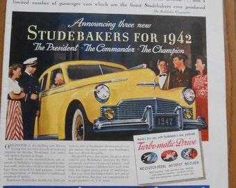 A62 Vintage 1941 Studebaker Ad Retro 1940s advertising Life magazine car ad Birds Eye Frozen Food ad dancing man car salesman yellow car art