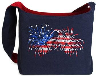 Flag Fireworks Embroidered Sling Bag