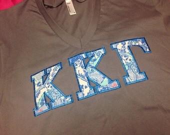 Kappa Kappa Gamma Lilly V-Neck T-Shirt in Size XS to XL
