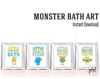 Monster Bathroom Art - 8x10 Prints, Monster Art, Monster Prints, Bathroom Art, Bathroom Prints