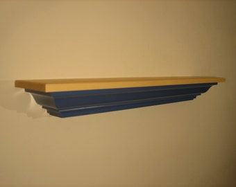 Pine Mantel Shelf In Wildflower Blue.