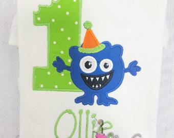 Baby Monster 1st Birthday Shirt, AppliqueBlue, Green Monster Birthday Shirt