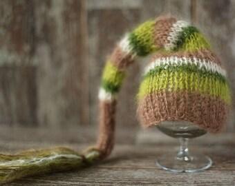 Newborn Elf Hat, Knitted Mohair Baby Girl Boy Hat,Stripe Green, Brown, Ivory, Munchkin hat, Knit baby hat, Photo prop, Photography,Beanie