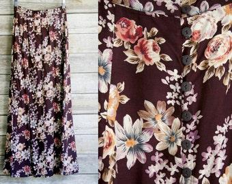90's burgundy floral skirt. Rayon Express Compagnie International maxi button down ankle length high waist. 23 24 25 inch waist XS