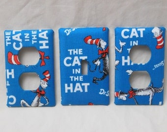 Cat in the Hat Light Switch Plate Outlet Plug Cover Set Custom Dr Seuss