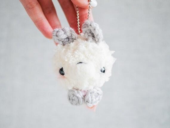 Amigurumi Bunny Keychain : Amigurumi Bunny Stuffed Plush Keychain with Pink Shirt White