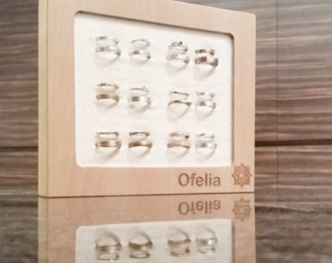 Jewelry box for rings + Your Logo Board For Craftshow Etalage Beech Wood Display