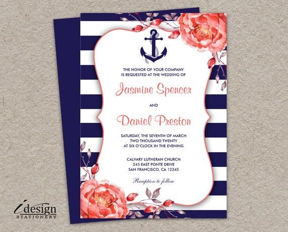 Navy Blue Wedding Invitations: Nautical Wedding Invitation Printable Navy Blue And Coral