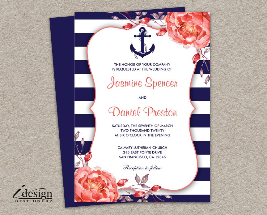 Nautical Wedding Invitation Printable Navy Blue And Coral