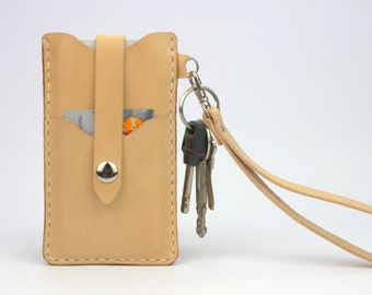 iPhone SE Wallet Case Leather iPhone SE Case iPhone SE Pouch Card Holder Beige iPhone 5s Case Wristlet Strap iPhone 5s Sleeve Press Fastener