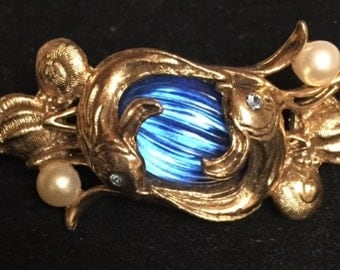"Vintage ""Fish in Blue Ice"" Brooch"