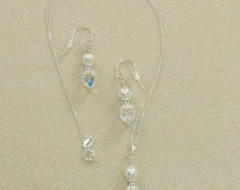 Swarovski Bridal necklace, Swarovski Bridal earrings, Swarovski Bridal jewelry, clip earrings - Blossoming Crystal Bridal Set