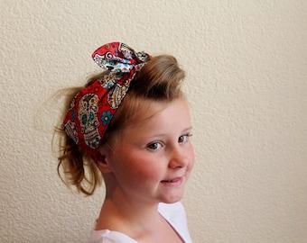 Red Dia De Los Muertos Head Scarf Girl's 1940's style vintage inspired retro head wrap rockabilly headband Day of the Dead sugar skull