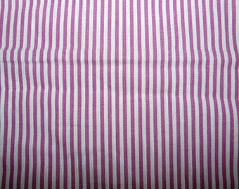CLEARANCE - pink and white candy stripe cotton fabric - 75cm remnant