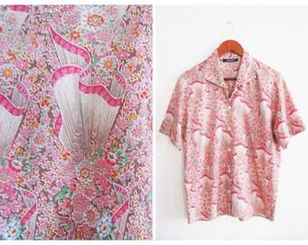 70s Cacharel Liberty Blouse Short Sleeve Button Down Shirt Vintage Top Small Medium