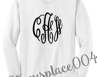 monogrammed sweater, mongrammed sweat shirt, monogrammed shirt, personalized sweater, white sweater
