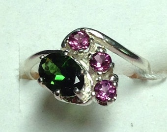 Chrome Green Tourmaline with Rhodolite accent garnets set in Sterling Silver  ring size 6