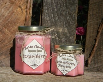 Small STRAWBERRY PASSION Soy Candles! Strawberry scented, strawberry soy candle, strawberry candle, berry candle, strawberry daqueri candle