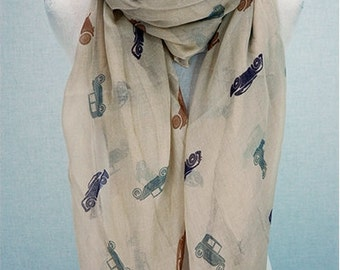 Cars Classic Print Cotton Scarf, Long Wrap, Cotton Long Shawl, Fashion Accessories, Infinity Lightweight Scarf, Women Scarves, Gift for her