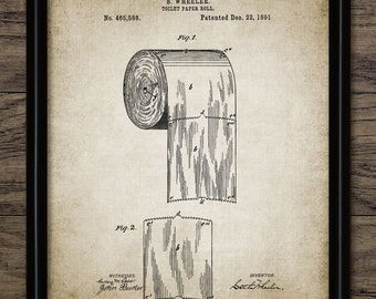 Toilet Paper Roll Patent Print - Vintage Patent - 1891 Toilet Roll - Bathroom Decor - Printable Art - Single Print #322 - INSTANT DOWNLOAD