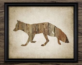 Fox Print - Fox Wood Decor - Red Fox Art - Fox Design - Printable Art - Single Print #540 - INSTANT DOWNLOAD