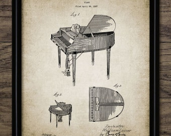Piano Patent Print - 1937 Piano Design - Music Room Art - Piano Music Art - Pianist Gift Idea - Single Print #1058 - INSTANT DOWNLOAD