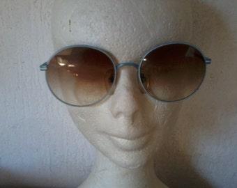 Glasses solar round vintage blue metal