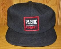 PACIFIC GMC Original Vintage 80s Black Foam Trucker Snapback Hat Defunct Car Truck Dealer Promo Wear Cap General Motors Corporation Ballcap