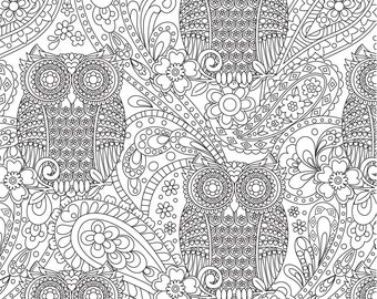 CLEARANCE What A Hoot 'Color Me' Fabric; By-The-Yard; DC7155-WHT; Michael Miller; Coloring Fabric; Owl Fabric; Flowers, Paisley