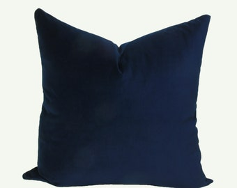Blue velvet pillow cover Navy velvet pillow 18x18 20x20 22x22 24x24 26x26 12x20 12x24 14x24 14x26 16x24 16x26 Blue euro sham Blue pillow