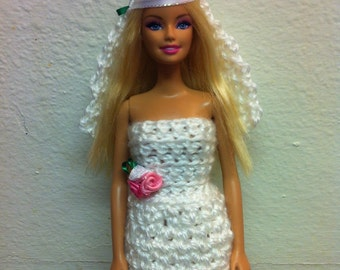 Crochet Barbie Doll Clothes, Barbie Wedding Dress, Barbie Clothes, Wedding Dress, Wedding Veil, Barbie Veil