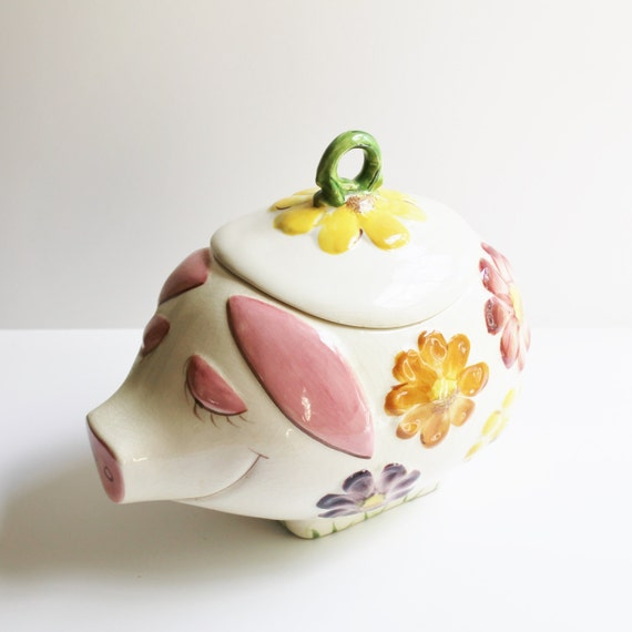 Vintage California Potteries Flower Covered Pig Shaped Cookie