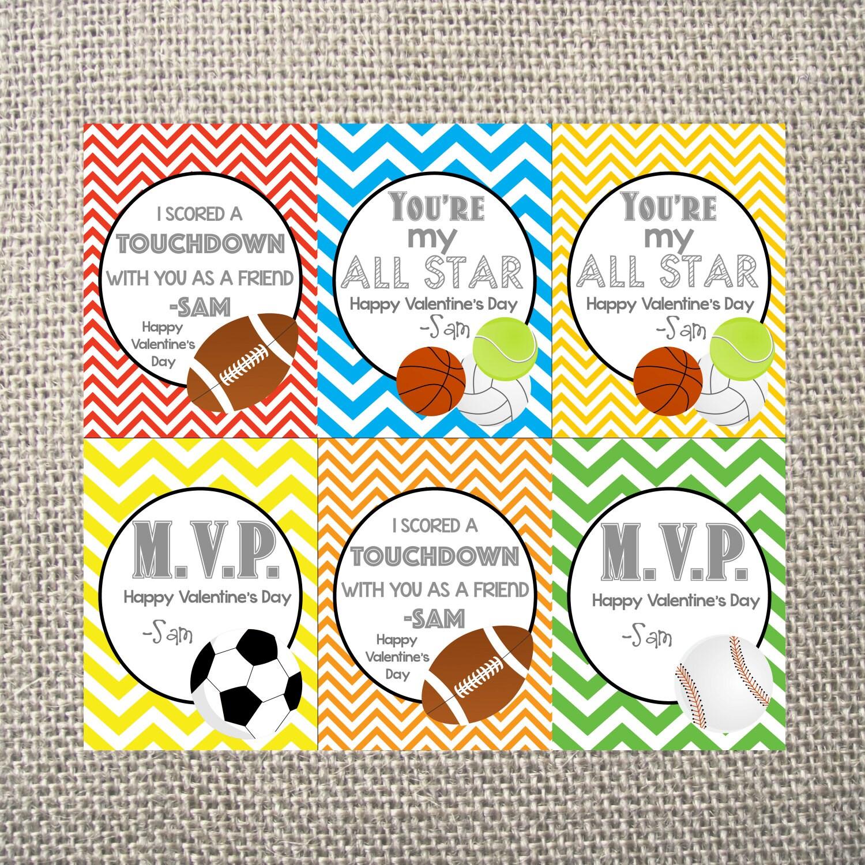 PRINTED Or DIGITAL Set Of 6 Cards Sports Boy Baseball Soccer Football  Baseball Tennis Chevron Ball Heart Valentineu0027s Day Valentine Card