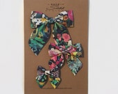 Sailor Bow - Blue Liberty of London Floral in Small, Medium, and Large on Clip or Elastic