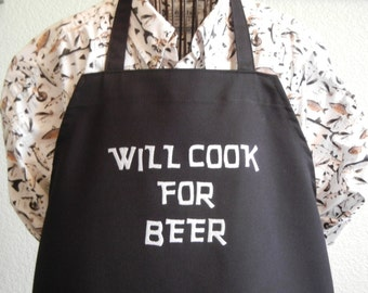 WILL COOK For BEER Funny Aprons For Men, Bbq Aprons For Men,Grilling Aprons For men, Mens Embroidered Cooking Aprons,Novelty Aprons,Chefs