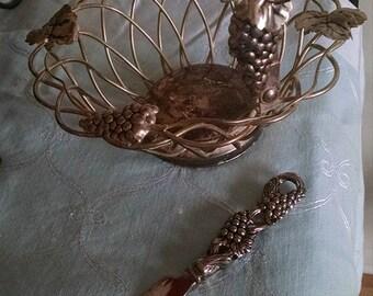 Godingers Silver basket with knife/vintage basket/centerpiece