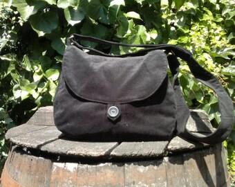 Black corduroy shoulder bag,buttoned bag