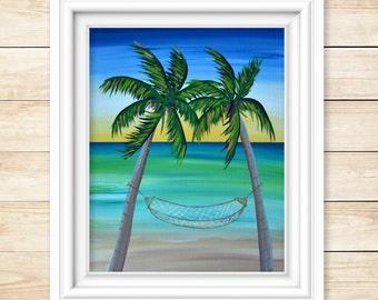Palm Tree Painting - Palm Tree Art - Beach Painting - Coastal Wall Art - Beach Wall Art - Hammock - Palm Tree Wall Art - Original Artwork