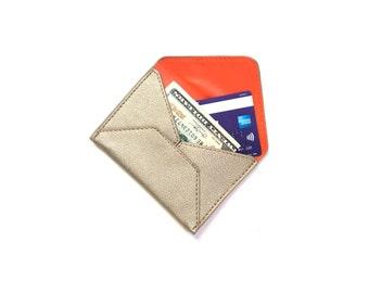 gold leather card case | birthday gift for her | gold wallet | card holder | business card holder | unisex card case | mini vegan wallet