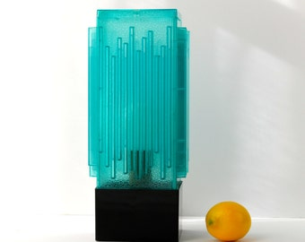 Skyscraper, Waterfall Lamp, Turquoise, Blue, Art Deco Style by C.N. Burman
