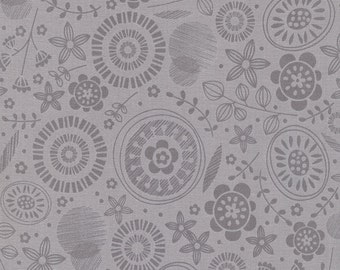 1/2 Yard Timeless Treasures Lily Tonal Floral in Grey designed by Alice Kennedy