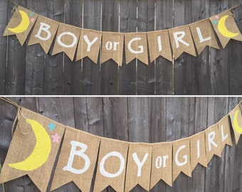 How I Wonder What You Are Gender Reveal Boy or Girl Burlap Banner, Its a Boy, Its a Girl Bunting, Baby Gender Reveal Garland,Twinkle Twinkle
